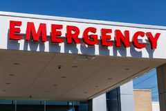 Red Emergency Entrance Sign for a Local Hospital I royalty free stock photo