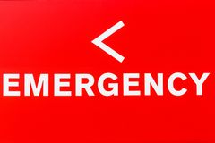 Red Emergency Entrance Sign for a Local Hospital I royalty free stock image