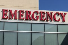Red Emergency Entrance Sign for a Local Hospital XIX stock images