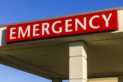 Red Emergency Entrance Sign for a Local Hospital XIII stock image