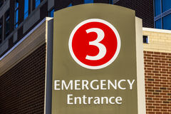 Red Emergency Entrance Sign for a Local Hospital XIV stock image