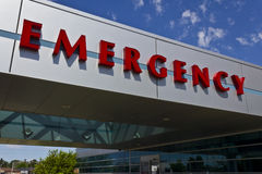 Red Emergency Entrance Sign for a Local Medical Hospital III Stock Image