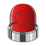 Red emergency siren isolated on a white background. Color line art. Retro design. Stock Photos