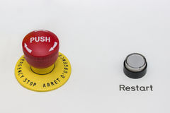 Red emergency stop and black reset button Stock Image