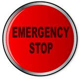 Red Emergency Stop Button. A large red help panic emergency stop button over a white background Stock Image
