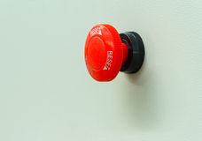 Red emergency stop and reset button Stock Photo