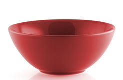 Red empty bowl  on white background Stock Images