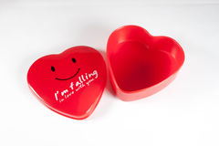 A red empty box shaped heart,for christmas, birthday, gift, holi Royalty Free Stock Photo