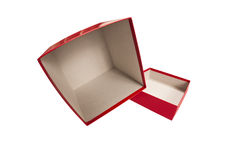Red Empty Box On Side With Lid Royalty Free Stock Photography
