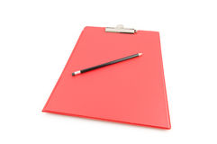 Red empty clip board with black pencil Royalty Free Stock Image