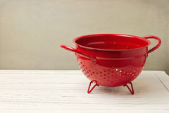 Red empty colander Royalty Free Stock Photography