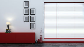 Red empty interior with blinds Stock Photos