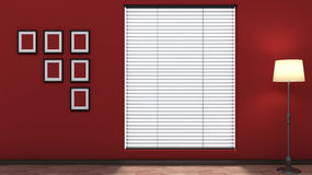 Red empty interior with blinds Royalty Free Stock Images