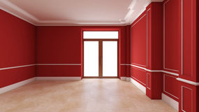 Red empty interior with door Royalty Free Stock Image