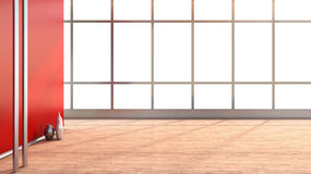 Red empty interior with large window Royalty Free Stock Image