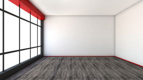 Red empty interior with large window.  Royalty Free Stock Photography