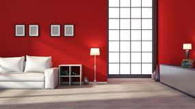 Red empty interior with large window.  Royalty Free Stock Photos