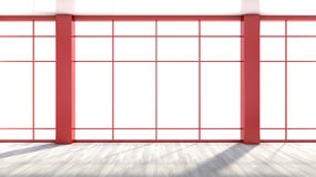 Red empty interior with large window.  Royalty Free Stock Image