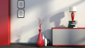 Red empty interior with vases and lamp Stock Photos