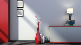 Red empty interior with vases and lamp Stock Photo