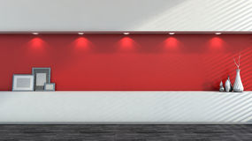 Red empty interior with white vases Royalty Free Stock Image
