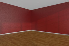Red empty room corner with parquet floor Royalty Free Stock Image