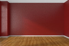 Red empty room with dark parquet floor Royalty Free Stock Photo