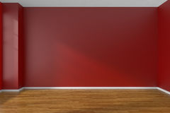 Red empty room with parquet floor Royalty Free Stock Images
