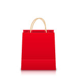 Red Empty Shopping Bag Stock Photo
