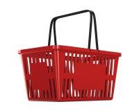 Red empty shopping basket on white background. Isolated 3d illus Stock Photos