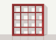 Red empty square bookshelf on white wall background. Red empty bookshelf composed of sixteen boxes on white wall background Royalty Free Illustration