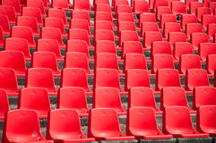 Red empty stadium seats Royalty Free Stock Photography