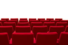 Red and empty theater seats isolated white background. Red and empty theater seats isolated Royalty Free Stock Photo