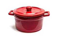 Red enamel pot Royalty Free Stock Photos