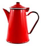 Red Enamel Tea Coffee Pot. Kitsch Retro Red Coffee Pot on white background Stock Image