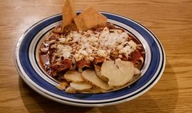 Red enchiladas with chicken and cheese. Typical Mexican food. stock photos