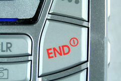The red end button finishes the call. The end of the call finishes here Stock Image