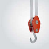 Red ending of metallic crane hook  Stock Image