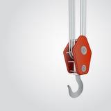 Red ending of metallic crane hook  Stock Image