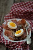 Red endive ,eggs and warm salad Stock Images