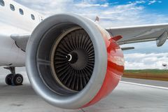Red Engine of a Commercial Plane Royalty Free Stock Photography