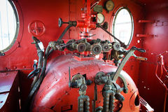 Red engine room of steam locomotive Royalty Free Stock Image