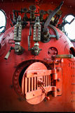 Red engine room of steam locomotive Royalty Free Stock Photography