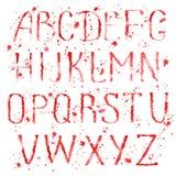 Red english alphabet with splashes Royalty Free Stock Image