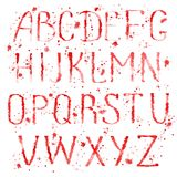 Red english alphabet with splashes Royalty Free Stock Images