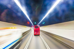 Red english bus in a tunnel Royalty Free Stock Image