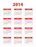 2014 red english calendar. Weeks starting from sundays. Vector illustration vector illustration