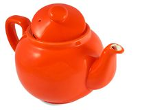 Red english teapot on white background Stock Photos