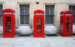 Red English telephone booths in London Stock Photo