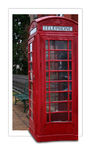 Red English telephone box. In style of postcard; isolated on white background Stock Images